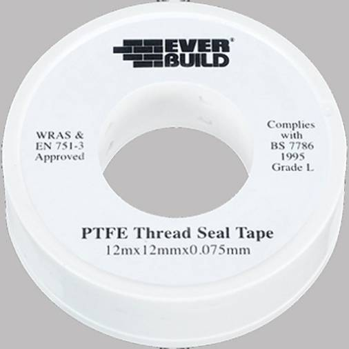 Everbuild PTFE Water Tape White 12mm x 12m (250) Image 1