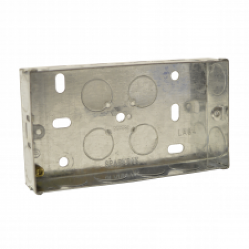 SparkPak A84 2 Gang Metal Box 25mm Image 1