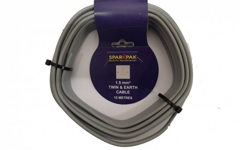 SparkPak CP2/10 Twin & Earth Cable 1.5mm x10m Image 1