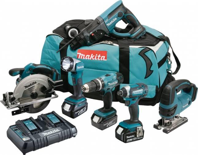 Makita DLX6068PT 6 Piece Cordless Combo Kit 18V Image 1
