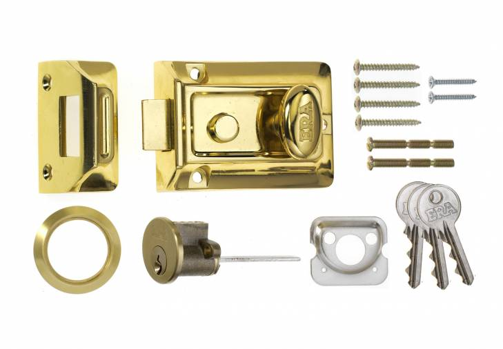ERA Traditional Rim Nightlatch Brass Body and Cylinder Image 1