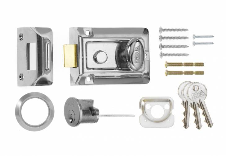ERA Traditional Rim Nightlatch Chrome Body and Cylinder Image 1