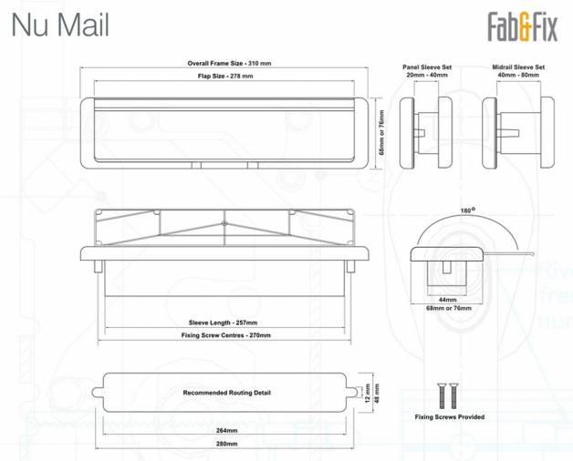 Fab & Fix Nu-Mail UPVC Telescopic Letterplates 12
