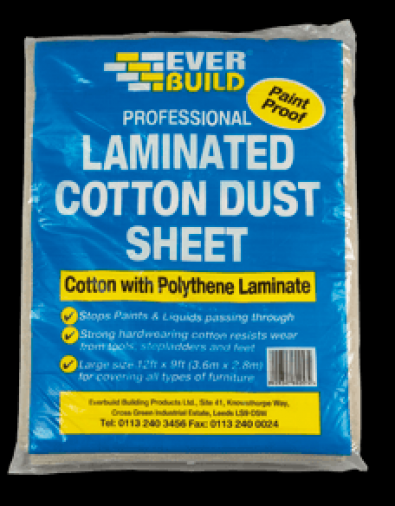 Everbuild Laminated Cotton Dust Sheet 12 x 9