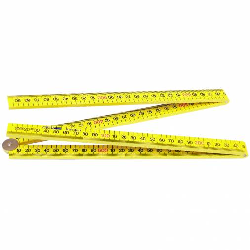 Fisco XXFY1ME Yellow ABS Nylon Folding Rule 1m/39