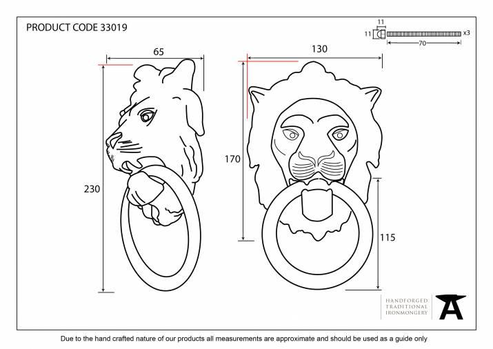 Antique Pewter Lion Head Knocker Image 2
