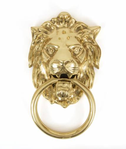 Polished Brass Lion Head Knocker Image 1