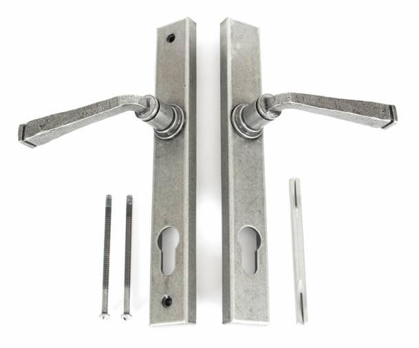 Pewter Avon Slimline Lever Espag. Lock Set Image 4