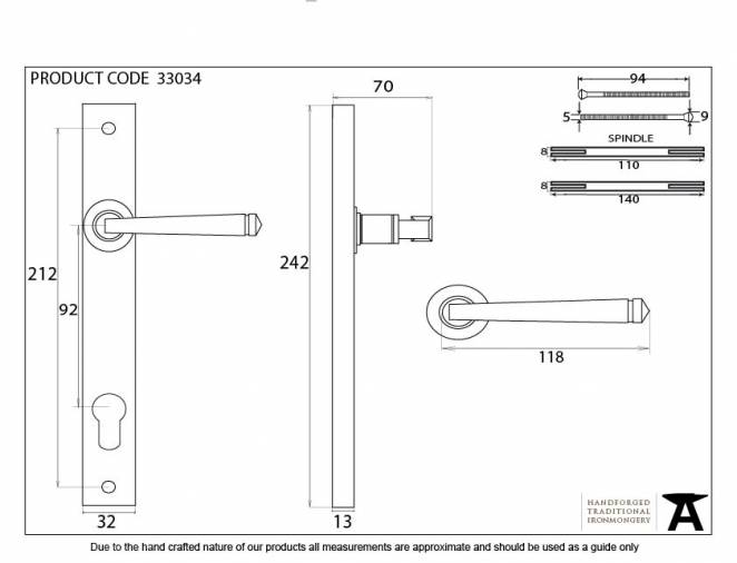 Pewter Avon Slimline Lever Espag. Lock Set Image 5