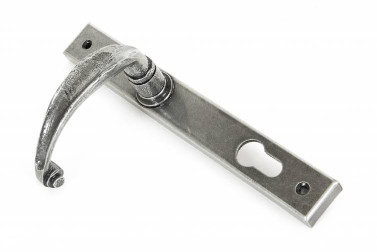Pewter Cottage Slimline Lever Espag. Lock Set Image 2