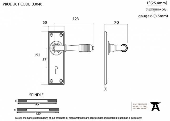 Anvil 33040 Aged Brass Reeded Lever Lock Set Image 2