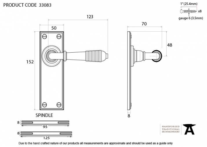 Anvil 33083 Aged Brass Reeded Lever Latch Set Image 2