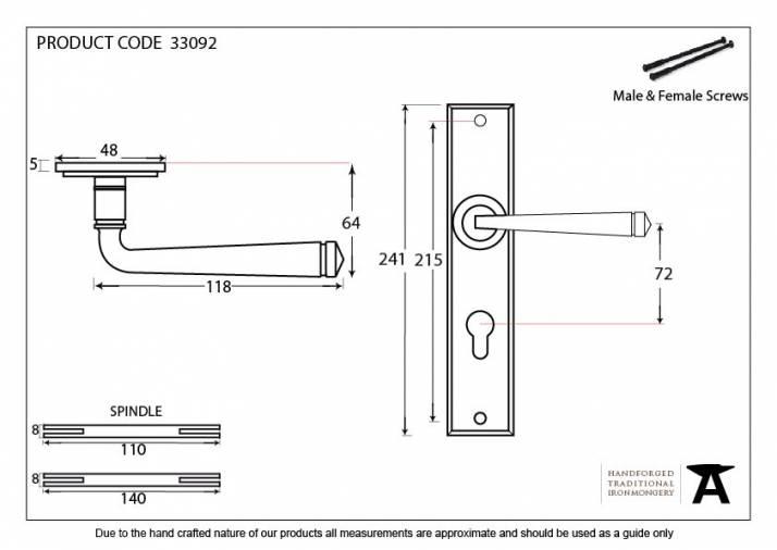 Anvil 33092 Black Large Avon 72mm Centre Euro Lock Set Image 4