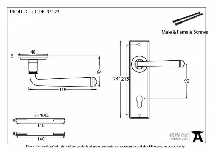 Black Avon Lever Espag. Lock Set Image 2