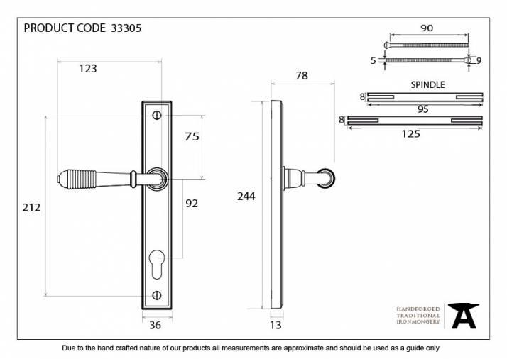 Polished Chrome Reeded Slimline Lever Espag. Lock Set Image 6