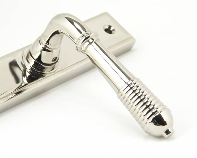 Polished Nickel Reeded Slimline Lever Espag. Lock Set Image 3
