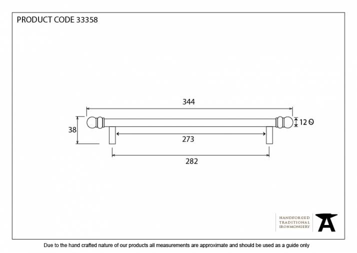 Black 344mm Bar Pull Handle Image 4