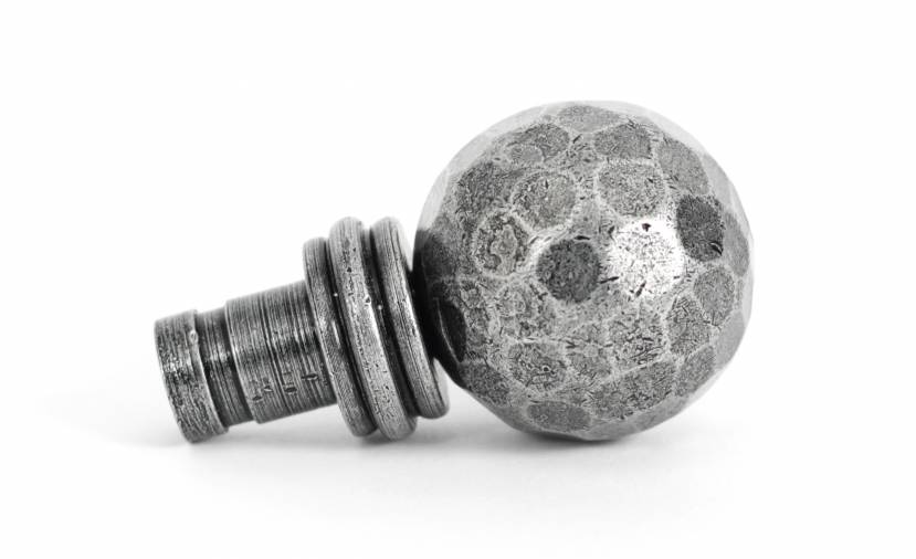 Pewter Hammered Ball Curtain Finial (pair) Image 2