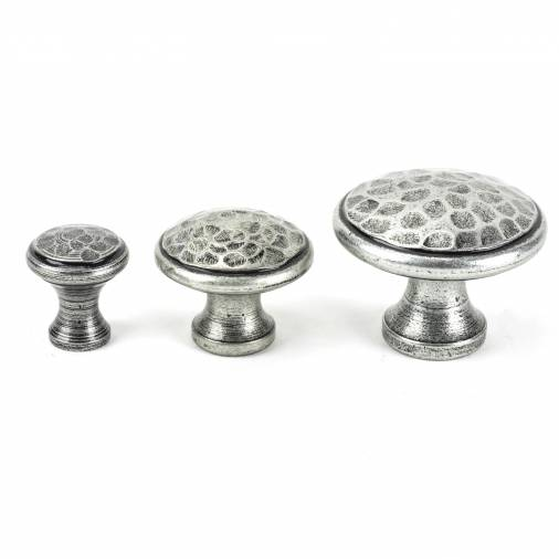 Pewter Hammered Cabinet Knob - Medium Image 3
