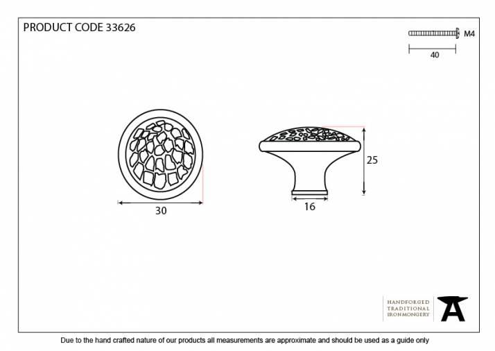 Pewter Hammered Cabinet Knob - Medium Image 4