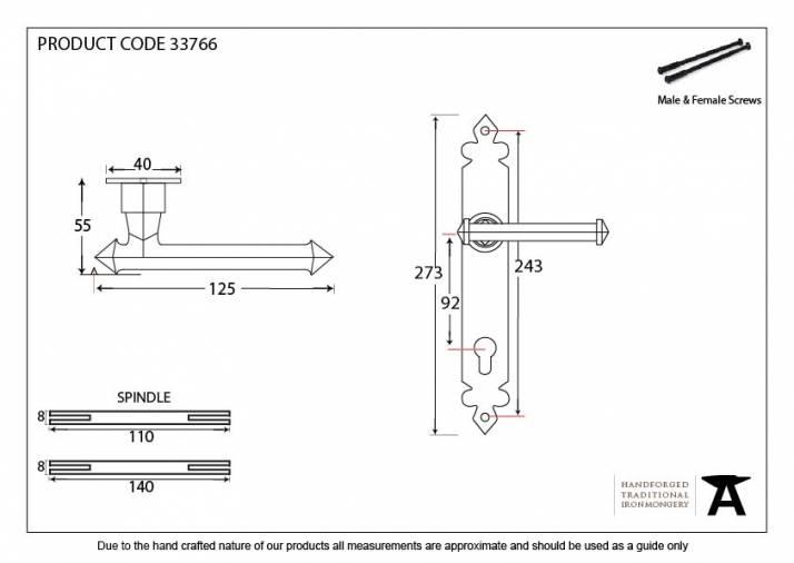 Pewter Tudor Lever Espag. Lock Set Image 2