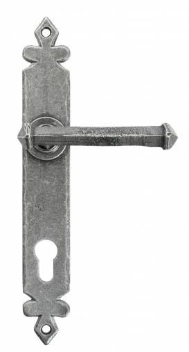 Pewter Tudor Lever Espag. Lock Set Image 1