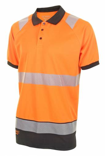 B-Seen HVTT010ORBL Two Tone Short Sleeve Polo Shirt - Orange/Black Image 1