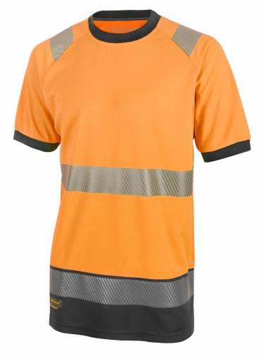B-Seen HVTT001RBL Two Tone Short Sleeve T-Shirt - Orange/Navy  Image 1