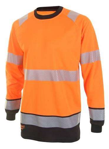 B-Seen HVTT005RBL Two Tone Long Sleeve T-Shirt - Orange/Black  Image 1