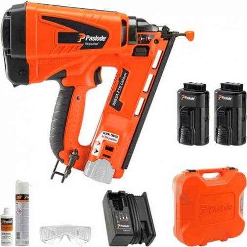 Paslode IM65A Angled F16 Gas Finishing Brad Nailer w/ 2 x 2.1Ah Batteries | SIIS SPECIAL Image 1