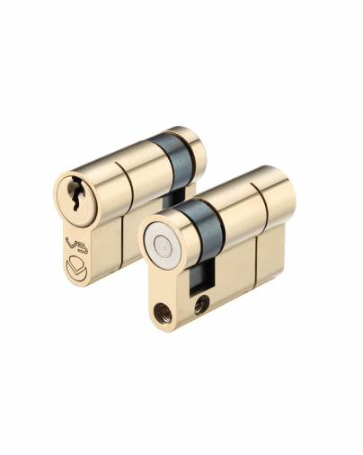 Vier 5-Pin Single Euro Cylinders - Polished Brass Image 1