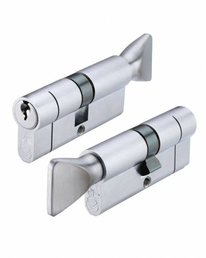 Vier 5-Pin Euro Key & Turn Cylinder  - Satin Chrome Image 1