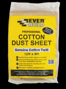 Added Everbuild Cotton Dust Sheet 12 x 9