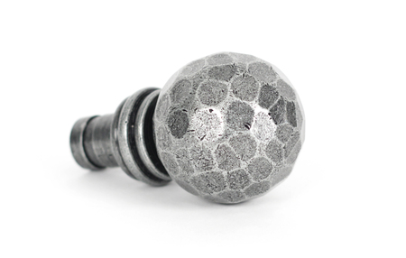 Added Pewter Hammered Ball Curtain Finial (pair) To Basket